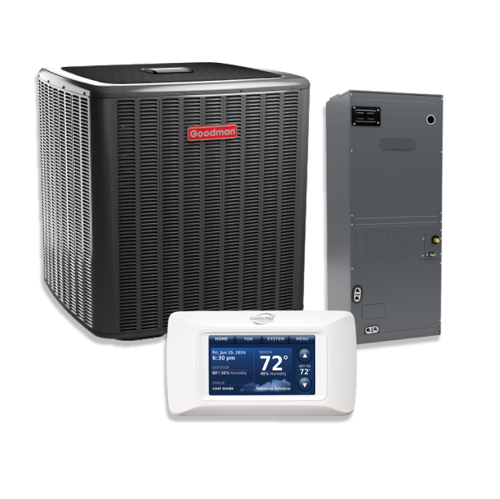Goodman 2 Ton 21 SEER Multi-Position Two Stage Variable Speed Split Heat Pump Inverter 10 KW Heat Strip with Communicating Thermostat