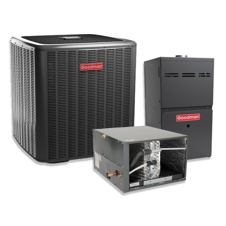 Goodman 2 Ton 20 SEER Two Stage Variable Speed Horizontal AC Inverter 80% AFUE Gas Furnace